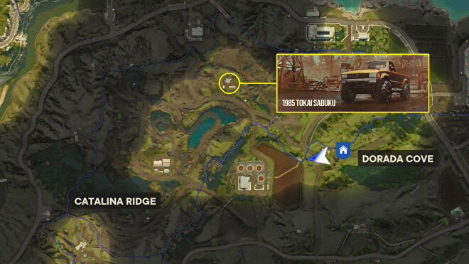 A screenshot of part of the Far Cry 6 map with the 1985 Tokai Sabuku Ride location marked.