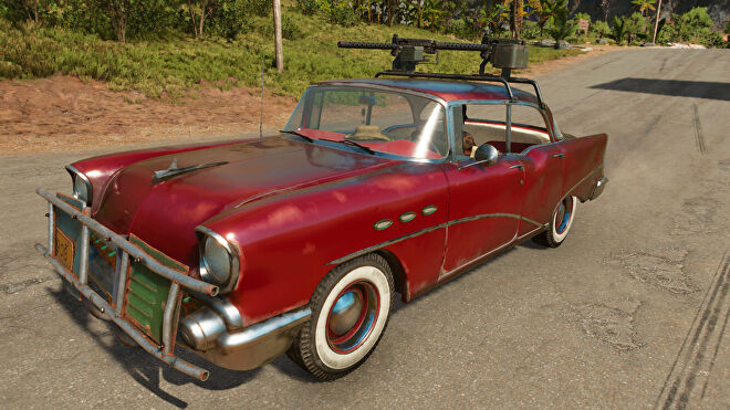 A screenshot of Juan's 1956 Beaumont Valentina Ride in Far Cry 6.