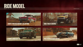 The Rides screen in Far Cry 6, showing all four Rides unlocked.