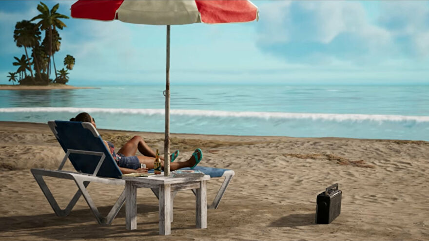 A screenshot of part of the Far Cry 6 secret ending, with Dani lounging on a beach listening to the radio.
