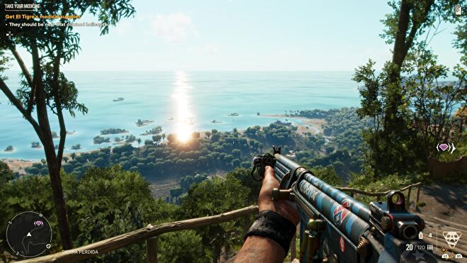 Dani looks out at Yara from atop a mountain base in Far Cry 6.