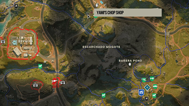 A screenshot of part of the Far Cry 6 map with Yami's Chop Shop marked.