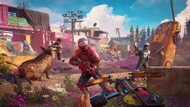The protagonist of Far Cry New Dawn firing their buzz saw blade at a motorcycle gear-wearing enemy, while their boar friend spears someone in the background.