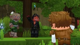 A brown-haired character from Hytale waves to two other players in a forest scene
