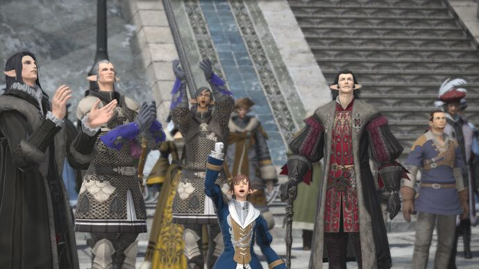 A group of happy characters in Final Fantasy XIV.
