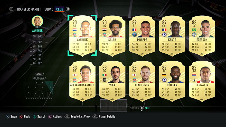 Player cards in a screenshot of Fifa 21's Ultimate Team mode.