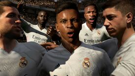 Footballers shouting in a Fifa 21 screenshot.