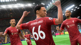 A footballer faces away from the camera and points to the back of his shirt in FIFA 22