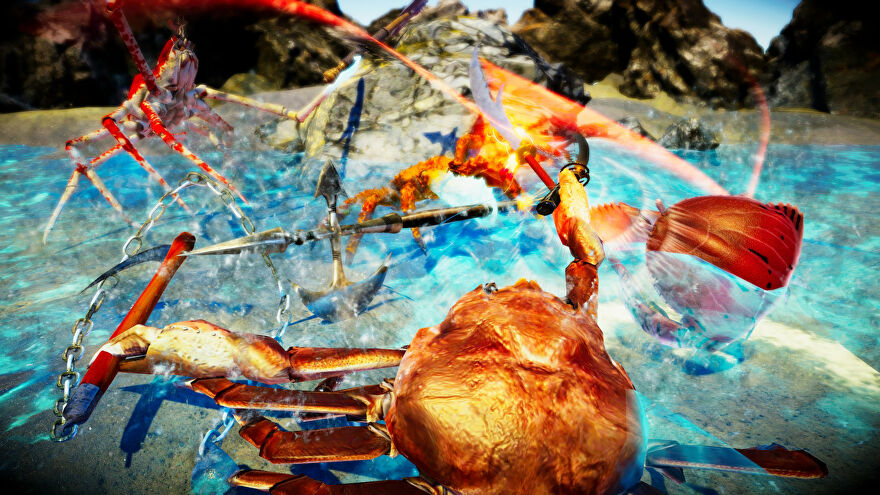 Heavily armed crustaceans battle in a Fight Crab screenshot.