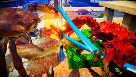 Crustaceans with swords battle in a Fight Crab screenshot.