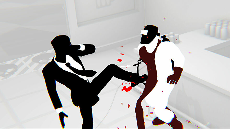 Fights In Tight Spaces - action shot of main character kicking an enemy in the stomach