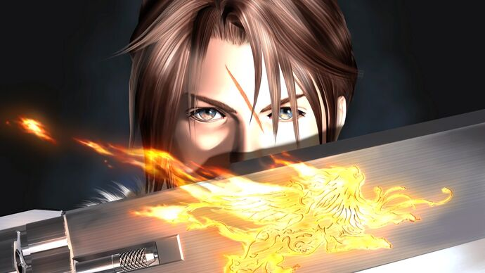 Artwork of Squall Leonhart holding his gunblade from Final Fantasy VIII