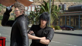 A screenshot from Final Fantasy XV which shows Noctis and Ignis stood next to eachother, posing for the camera. Noctic has his arms crossed, while Ignis is turned to the side.