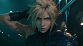 Final Fantasy 7 remake - A closeup of Cloud Strife's face while he holds his sword