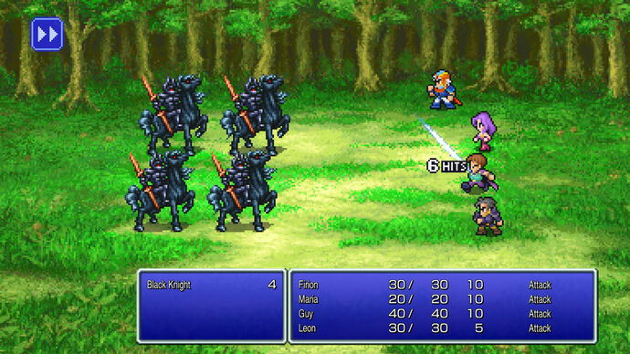 A battle screen showing four warriors attack four monsters in the Final Fantasy II Pixel Remaster