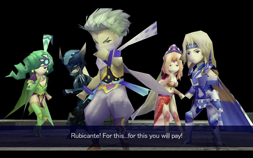 The party prepare themselves for battle in Final Fantasy IV's 3D Remake