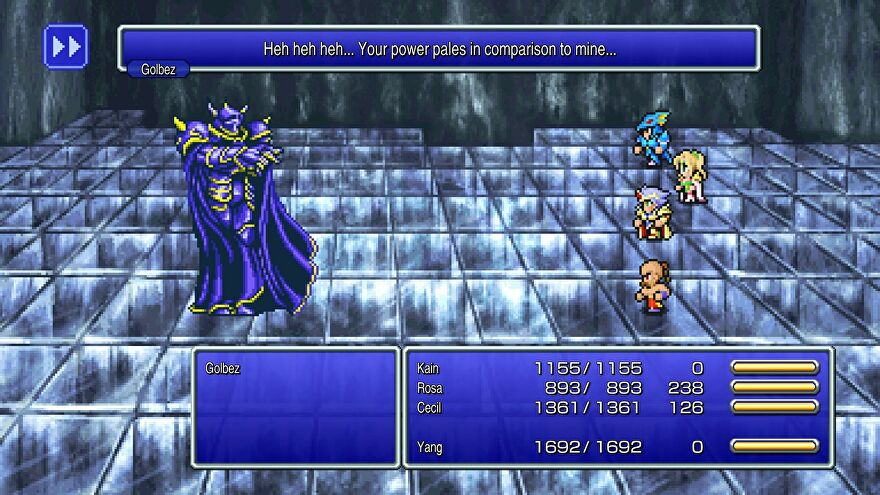 """Final Fantasy IV Pixel Remaster - Cail, Rose, Cecil, and Yang are in a battle against Golbez, who says """"Heh heh heh...your power pales in comparison to mine."""""""