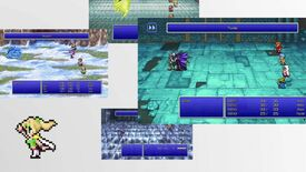 A screenshot from the Final Fantasy Pixel Remaster trailer which shows several screenshots of the remastered games floating on a white background. A blonde-haired character poses on the left of the screen.