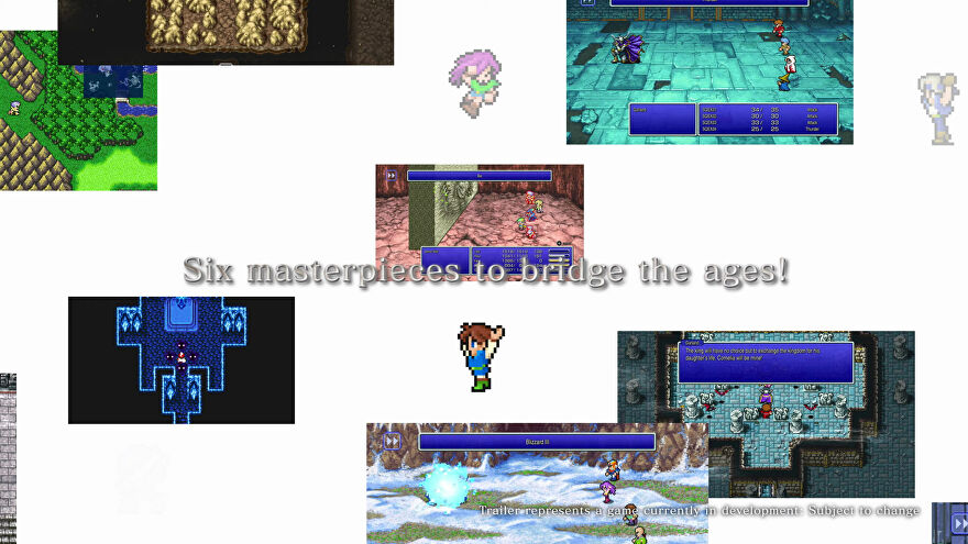 A montage of pixellated Final Fantasy games in the trailer for FF 1-6 Pixel Remasters.