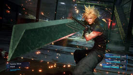 Final Fantasy VII remake - Cloud Strife holds his buster sword during a battle while attack and ATB meters for the party are shown in the interface.