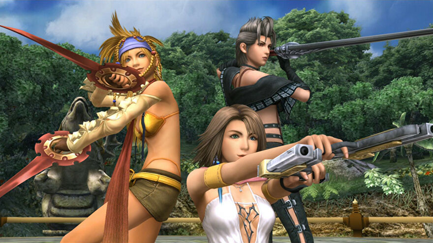 The Gullwings pose in a Final Fantasy X-2 screenshot.