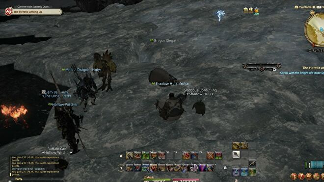Players watch a player called Gregor Clegane lie on cracked ice in Final Fantasy XIV.
