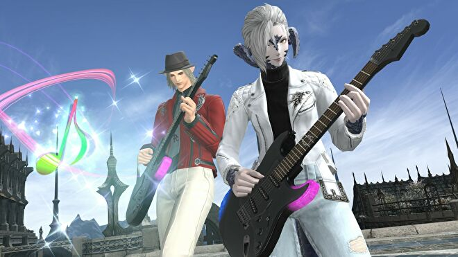 Two characters play electric guitar in Final Fantasy XIV.