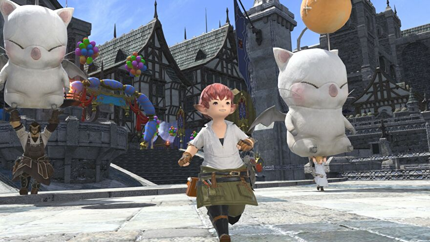 An image from Final Fantasy XIV which shows a red-haired Lalafell running through a town square, with big Moogles rising to the sky around them.