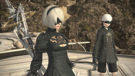 A screenshot of Final Fantasy XIV's patch 5.5 showing the protagonists of Nier Automata, who feature in a crossover event in FFXIV.