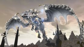 A lady flies on a cool white dragon in Final Fantasy 14.