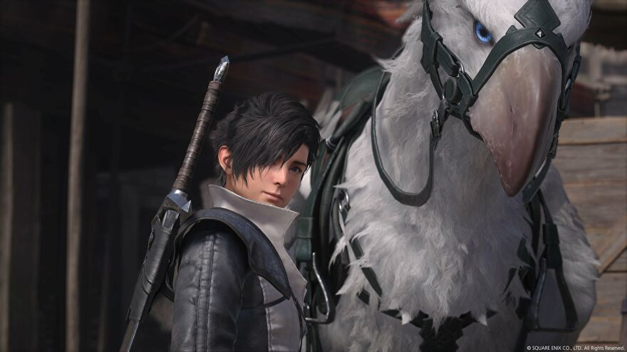 An image from Final Fantasy XVI which shows the protagonist stood next to huge white bird mount.