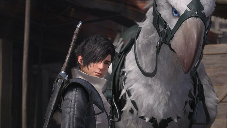 An image from Final Fantasy 16 which shows the protagonist stood next to a huge bird mount.