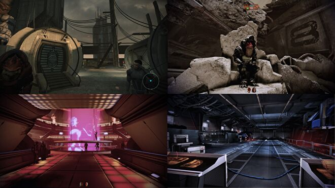 A collection of images from the Mass Effect Legendary Edition first-person mod. In clockwise order: the colony on Feros in ME1, Wrex sat on his rocky throne in Tuchanka in ME2, the Omega Afterlife nightclub in ME2, and the cargo bay on the Normandy in ME3.