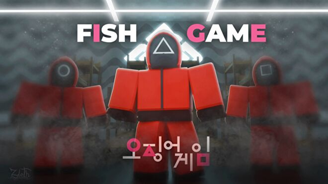 """Three Roblox characters in Squid Game guard costumes. Text in image reads """"Fish Game""""."""
