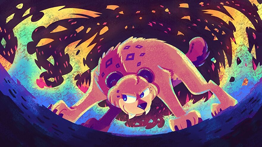 Flame Fatale's cool mascot, it's a bit cat (a lion?) surrounded by fire.