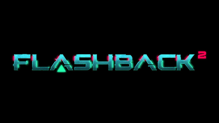 A logo for Flashback 2, showing the words Flashback 2 on a black background and in a futuristic font.