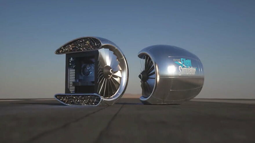 A custom PC inspired by Microsoft Flight Simulator that uses a turbine as a PC case