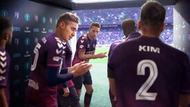 Key art for Football Manager 2022 showing a group of male haircut models in a tunnel about to emerge onto a pretend football pitch. The models are applauding themselves.
