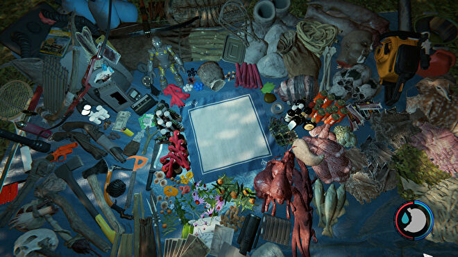 A room packed with an assortment of different items all laid out on the floor in The Forest