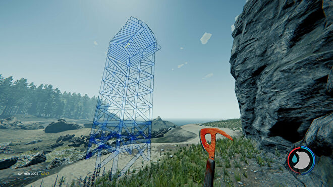 A coastal scene in The Forest where the player is working out where to place the blueprint for a tower