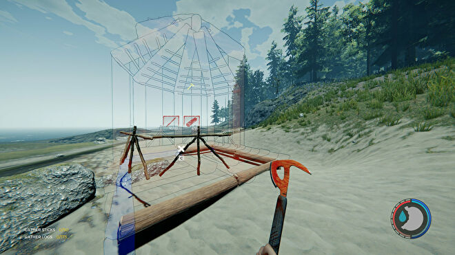 A player constructs a small hut on a beach in The Forest
