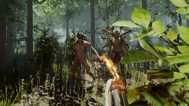Two men in tribal garb emerge from the forest in The Forest