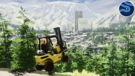 The forklift in Forklift Load making a jump, in front of a panoramic view of a city nestled in a valley