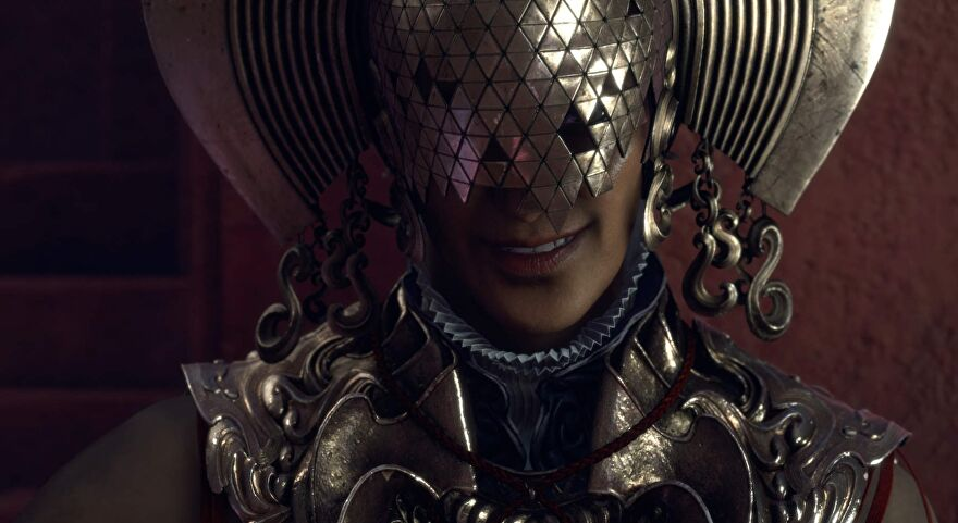 A screenshot showing a character in Forspoken wearing a strange patterned metallic mask.