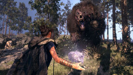 A screenshot of Forspoken, showing the protagonist in the ground facing a way and wielding some sort of elemental magic as she faces down a charging mutant bear-like creature.