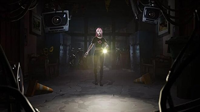 A young woman walks towards the camera holding a flashlight, with shadowy figures in the background.
