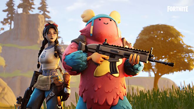A young woman and a chicken man face the camera holding weapons.