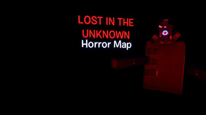A very dark room with a red light to one side revealing some machinery. Text reads Lost in the Unknown Horror Map.