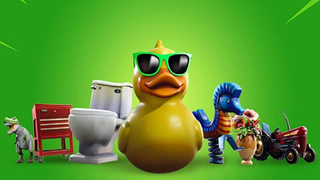 A toy dinosaur, a tool trolley, a toilet, a rubber duck in sunglasses, a seahorse spring rocker, a cracked vase with flowers, and a tractor lined up against a green background.