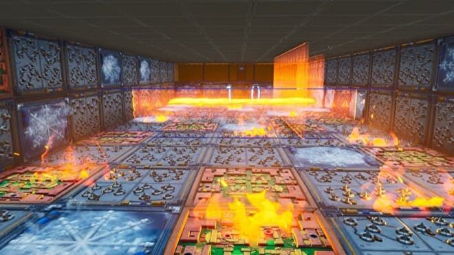 A dungeon room filled with flames, spike traps, and other hazards.
